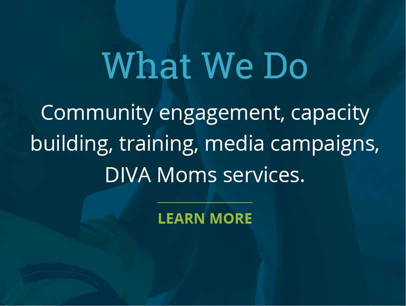 Community engagement, capacity building, training, media campaigns, DIVA Moms services.